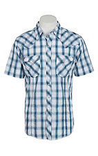 Wrangler Men's Navy and White Plaid Short Sleeve Western Snap Shirt