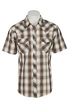 Wrangler Men's Khaki and Brown Plaid Short Sleeve Western Snap Shirt