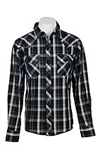 Wrangler Men's Black and Grey L/S Western Snap Shirt