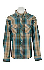 Wrangler Men's Khaki and Teal L/S Western Snap Shirt