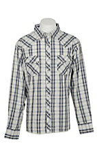 Wrangler Men's Blue and White L/S Western Snap Shirt