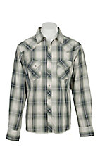 Wrangler Men's Cream and Olive L/S Western Snap Shirt