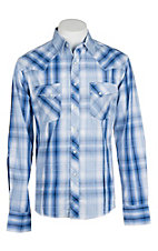 Wrangler Men's Blue and White Plaid Easy Care Western Snap Shirt