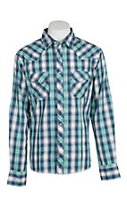 Wrangler Men's Aqua, Navy and Red Plaid Easy Care Western Snap Shirt