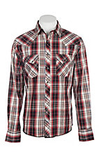 Wrangler Men's Red and Black Plaid Easy Care Western Snap Shirt
