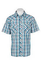 Wrangler Men's Red and Blue Plaid S/S Western Snap Shirt