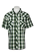 Wrangler Men's Fading Green Plaid S/S Western Snap Shirt