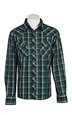 Wrangler Men's Green, Blue and Black Plaid Easy Care Western Snap Shirt