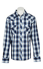 Wrangler Men's Blue, White, and Black Plaid Wrinkle Resist L/S Western Snap Shirt