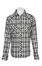 Wrangler Men's Grey and Black Plaid Wrinkle Resist L/S Western Snap Shirt