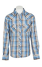 Wrangler Men's Blue and Tan Plaid Wrinkle Free Easy Care Long Sleeve Western Snap Shirt