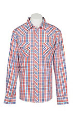 Wrangler Men's Orange and Blue Plaid Wrinkle Resist L/S Western Snap Shirt