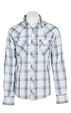 Wrangler Men's Grey and Blue Plaid Easy Care Western Snap Shirt