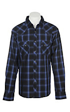 Wrangler Men's Indigo and Black Plaid Wrinkle Resist L/S Western Snap Shirt