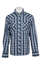 Wrangler Men's Navy Plaid Long Sleeve Western Shirt