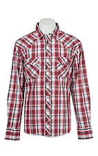 Wrangler Men's Red and Black Plaid Long Sleeve Western Shirt