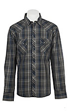 Wrangler Men's Black and Blue Plaid Long Sleeve Western Shirt