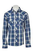 Wrangler Men's Blue and White Plaid Long Sleeve Western Shirt