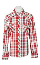 Wrangler Men's Red and White Plaid Long Sleeve Western Shirt