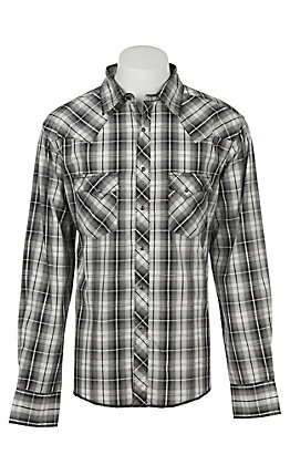Wrangler Men's Black and White Plaid Long Sleeve Western Shirt