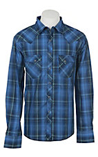 Wrangler Men's Blue Plaid Long Sleeve Western Shirt