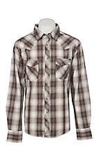 Wrangler Men's Brown and Ivory Plaid Long Sleeve Western Shirt
