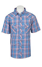 Wrangler Men's Blue Plaid Short Sleeve Western Shirt