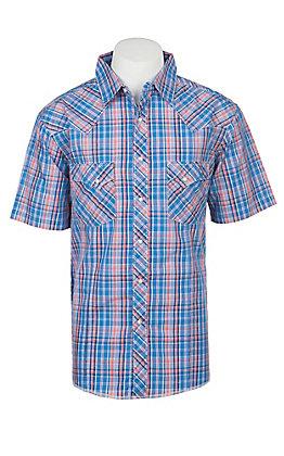 Wrangler Men's Blue Plaid Short Sleeve Western Shirt