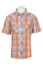 Wrangler Men's Orange Plaid Short Sleeve Western Shirt