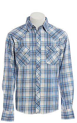 Wrangler Men's Light Blue and White Plaid Long Sleeve Western Shirt