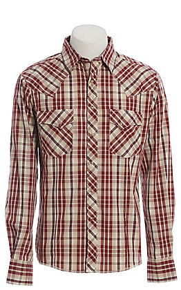 Wrangler Men's Tan and Burgundy Plaid Long Sleeve Western Shirt