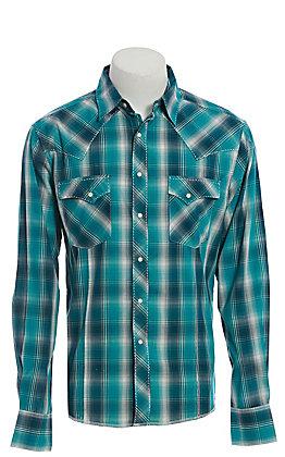 Wrangler Men's Teal Green Plaid Long Sleeve Western Shirt
