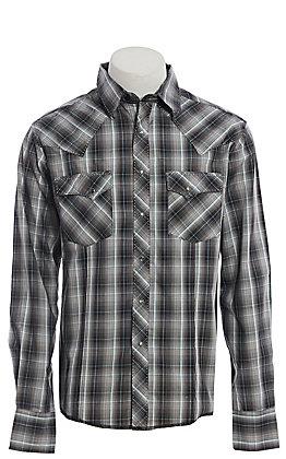 Wrangler Men's Black and Grey Plaid Long Sleeve Western Shirt