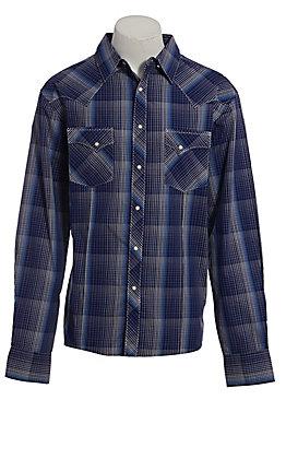 Wrangler Men's Blue Plaid Long Sleeve Western Shirt
