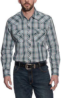 Wrangler Men's Grey and Turquoise Plaid Long Sleeve Western Shirt - Big & Tall