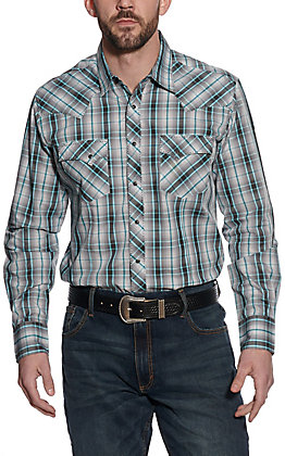 Wrangler Men's Grey and Turquoise Plaid Long Sleeve Western Shirt