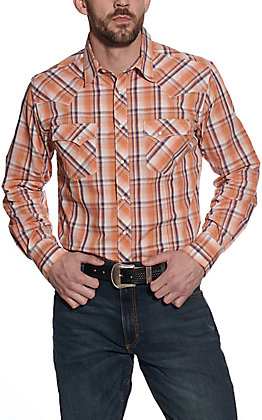 Wrangler Men's Orange Plaid Long Sleeve Western Shirt
