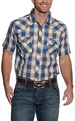 Wrangler Men's Blue and Tan Plaid Short Sleeve Western Shirt