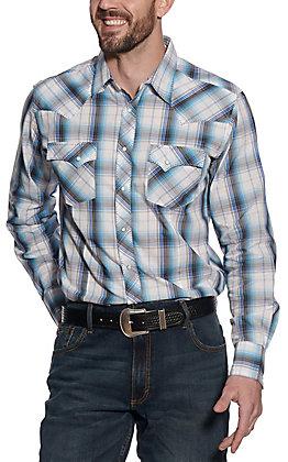Wrangler Men's Blue Plaid Long Sleeve Western Shirt - Big & Tall
