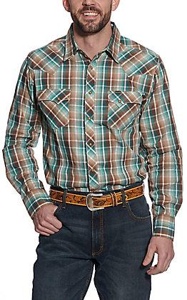 Wrangler Men's Turquoise & Brown Plaid Long Sleeve Western Shirt
