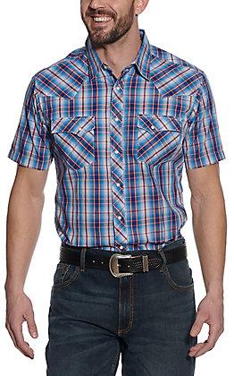 Wrangler Men's Red & Blue Plaid Short Sleeve Western Shirt