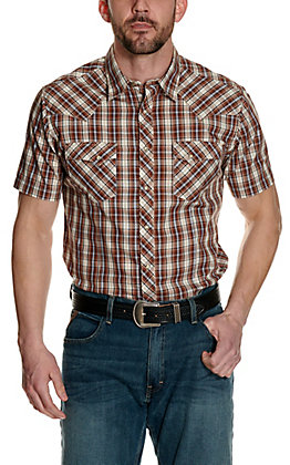 Wrangler Men's Brown and Cream Plaid Short Sleeve Western Shirt