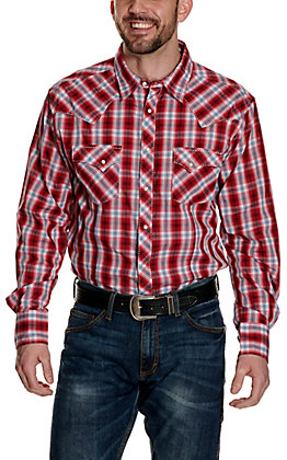 Wrangler Men's Red, White & Blue Plaid Long Sleeve Western Shirt