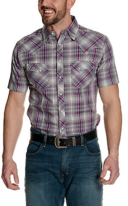 Wrangler Men's Grey and Purple Plaid Short Sleeve Western Shirt