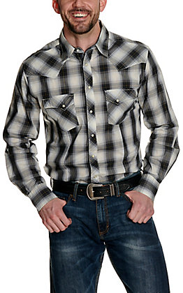 Wrangler Men's Grey and Black Plaid Long Sleeve Western Shirt