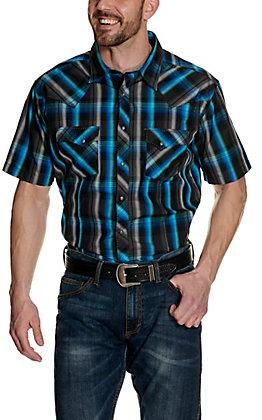 Wrangler Men's Turquoise & Black Plaid Short Sleeve Western Shirt
