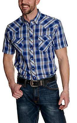 Wrangler Men's Blue & White Plaid Short Sleeve Western Shirt