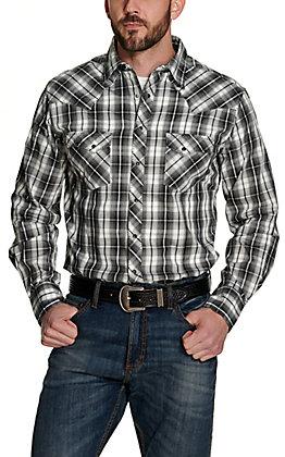 Wrangler Men's White and Black Plaid Long Sleeve Western Shirt
