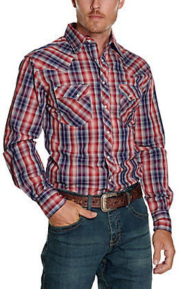 Wrangler Men's Red and Navy Plaid Long Sleeve Western Shirt