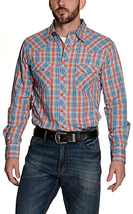 Wrangler Men's Turquoise and Orange Plaid Long Sleeve Western Shirt